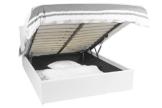 Bett - 140x190 - weiß - Bettgestell mit Aufbewahrung - Bettkasten Inhalt 798 Liter - Material A++ Qualität Lederoptik - Funktionsbett - Stahlrahmen mit Holz - Lattenrost -