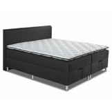 Betten-ABC® Boxspringbett Schwarzwald Comfortbox Tonnentaschenfederkernmatratze+ Topper+ Bettkasten - Grösse 120 x 200 cm - Härtegrad 8 - Stoff Schwarz, fein -