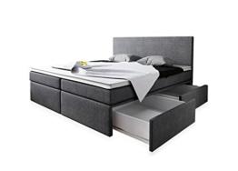Boxspringbett 160x200 mit Bettkasten Grau Stoff Hotelbett Polsterbett Matratze Modell Roma (160 x 200) -