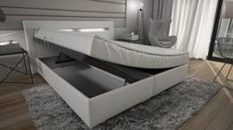 Boxspringbett 180x200 mit Bettkasten Weiß Milano Lift Hotelbett TÜV geprüft Hotelbett -