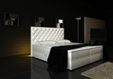 Boxspringbett Weiß Panama Lift 160x200 inkl. 2 Bettkästen Hotelbett Bett LED Chesterfield -