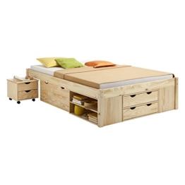 Funktionsbett Jugendbett Doppelbett SABRINA Kiefer massiv natur lackiert Liegefläche 140 x 200 cm (B x L) -