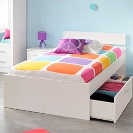 Kinderbett 90x200cm weiß, Jugendbett mit Bettkasten, Stauraumbett Gästebett, Inaco 20, Jugendzimmer Kinderzimmer Gästezimmer -