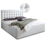 Luxus Polsterbett mit Bettkasten Selly mit Zirkonia Steinen XXL Kunslederbett Doppelbett Ehebett Weiß (180x200cm) -