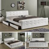 "Luxusbett ""Phoenix"" Weiss Doppelbett Polsterbett mit 4 Bettkasten Bett Lattenrost Kunstleder (140x200cm) -"