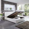 Polsterbett BETTY Kunstleder Bett mit Bettkasten Lattenrost 160x200 Weiss Doppelbett -