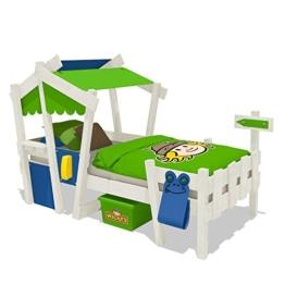 Wickeydream CrAzY Candy Kinderbett Jugendbett 90x200cm (BLAU / APFELGRÜN mit Lattenboden + weisse Farbe) -