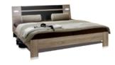 Wimex 751291 Bett Vicenza 140 x 200 cm Liegefläche, Aufstellmaß 149 x 87 x 210 cm, inklusive Beleuchtung, Eiche Sägerau Nachbildung, Absetzung Lavafarbig -