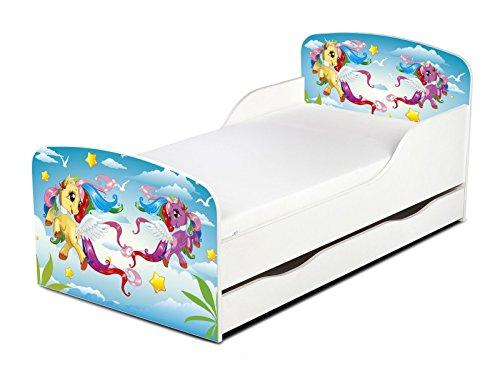 Leomark KINDERBETT 140x70 mit Schublade Funktionsbett Einzelbett mit Matratze Motiv: Pony Sehr Einfache Montage, Bettkasten