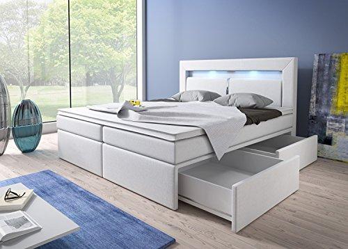 Boxspringbett 180x200 Weiß mit Bettkasten LED Kopflicht Kunstleder Hotelbett Polsterbett Brüssel (180 x 200)
