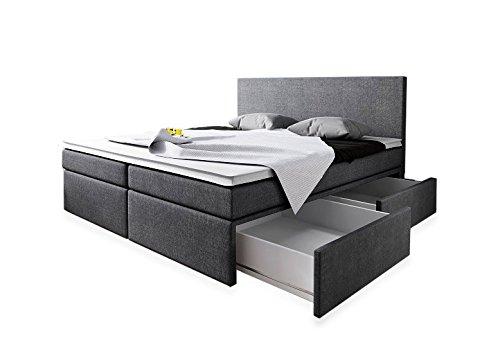 Boxspringbett 180x200 mit Bettkasten Grau Stoff Hotelbett Polsterbett Matratze Modell Roma (180 x 200)