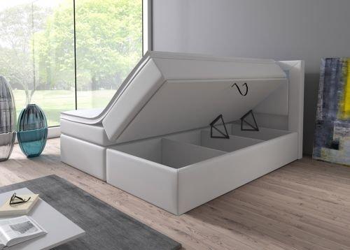 Boxspringbett 160x200 180x200 Weiß mit Bettkasten LED Kopflicht Hotelbett Brüssel Lift (180x200)
