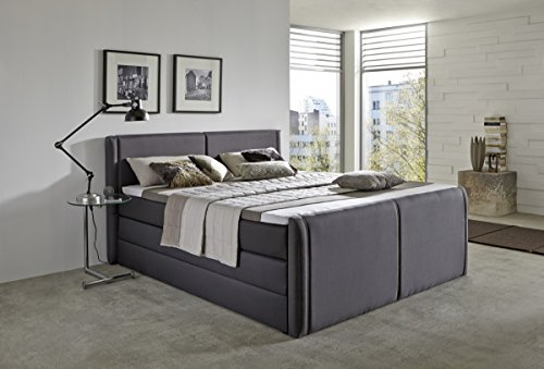Dreams4Home Boxspringbett 'Aron' in anthrazit mit Bettkasten 180x200cm Hotellbett Polsterbett Ehebett