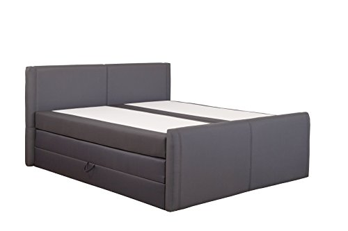 produced4you 6141-881-0000 Boxspringbett mit Bettkasten, 180 x 200 cm, grau