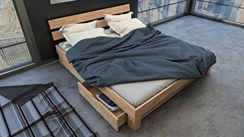 SAM® Massiv-Holzbett Julia mit Bettkästen in Buche natur geölt, 180 x 200 cm, Bett mit hohem, geteiltem Kopfteil, natürliche Maserung, massives widerstandsfähiges Buchenholz in zeitlosem Naturton
