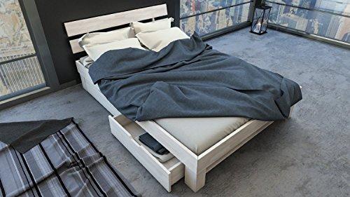 SAM® Massiv-Holzbett Julia mit Bettkästen in Buche weiß, 160 x 200 cm, Bett mit geteiltem Kopfteil, natürliche Maserung, massive widerstandsfähige Oberfläche in edlem Weißton