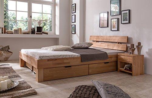 """Futonbett Bett """"Judith"""" Kernbuche-Massiv Natur geölt, 140 x 200 cm"""
