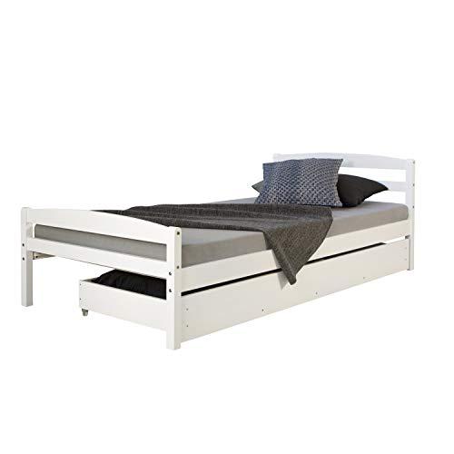 Homestyle4u Funktionsbett Holzbett Kinderbett Jugendbett 90x200 weiß Bettkasten Einzelbett
