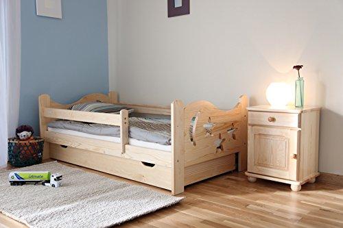 Kinderbett Jugendbett Juniorbett Massivholz mit Matratze 160x80cm (weiss)