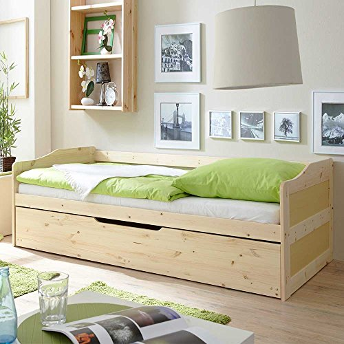 Massivholzbett mit Bettkasten Gästebett Pharao24