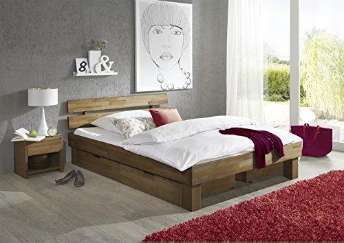 "Futonbett Bett ""Jenny"" Eiche-Massiv Natur geölt, 140 x 200 cm inkl. 2 x Bettkasten und 2 x Nachtkonsole"