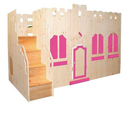 Hochbett Schloss Bett mit Treppe und Fassade GS zertifziert, Kiefer Massivholz aus nachhaltiger Forstwirtschaft, inkl. Rost