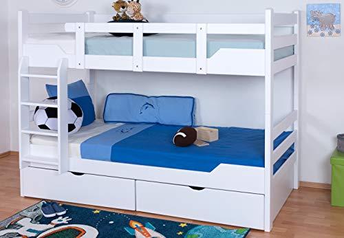 """Etagenbett / Stockbett """"Easy Sleep"""" K12/n inkl. 2 Schubladen und 2 Abdeckblenden, Kopf- und Fußteil gerade, Buche Vollholz massiv Weiß - Maße: 90 x 200 cm, teilbar"""