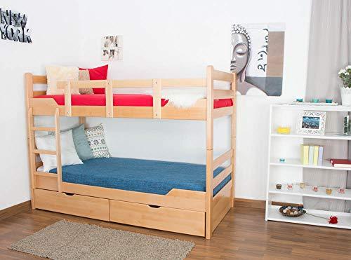 """Etagenbett / Stockbett """"Easy Sleep"""" K12/n inkl. 2 Schubladen und 2 Abdeckblenden, Kopf- und Fußteil gerade, Buche Vollholz massiv Natur - Maße: 90 x 200 cm, teilbar"""