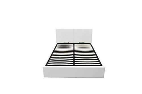 Bett - 140x190 - weiß - Bettgestell mit Aufbewahrung - Bettkasten Inhalt 798 Liter - Material A++ Qualität Lederoptik - Funktionsbett - Stahlrahmen mit Holz - Lattenrost