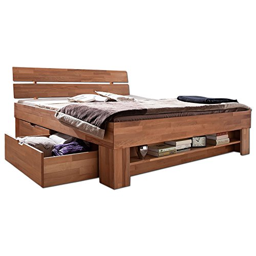 Futonbett SOFIE mit Bettkasten und Fußteilregal 140 x 200 cm