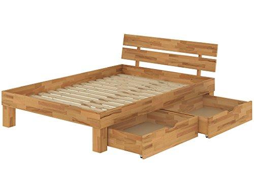 60.86-14 B33 Buche Doppelbett 140x200 mit Bettkasten Französisches Bett -
