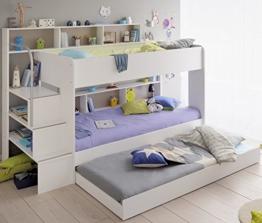 90x200 Kinder Etagenbett Weiß/grau mit Bettkasten Treppe und Geländer -