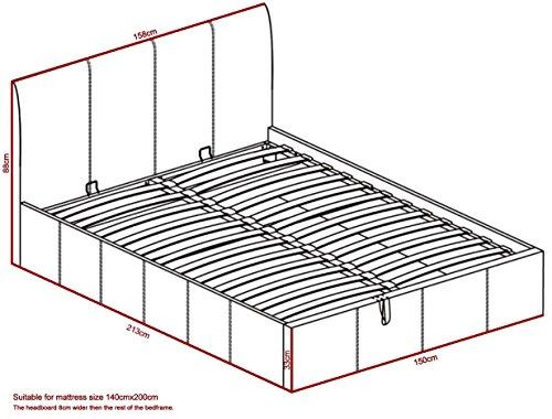 Bett - 140x200 - Weiß - Bettgestell mit Aufbewahrung - Bettkasten Inhalt 840 Liter - Material A++ Qualität Lederoptik - Funktionsbett - Stahlrahmen mit Holz - Lattenrost -