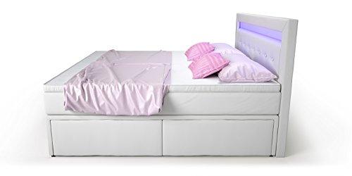 Box Bett Doppelbett Hotelbett Delia mit Bettkasten Schubkasten LED Kunstleder weiß 160 180×200 Ehebett Bonellfederkern Topper (180 x 200 cm) - 4