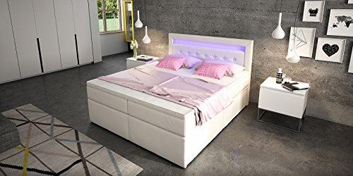 Box Bett Doppelbett Hotelbett Delia mit Bettkasten Schubkasten LED Kunstleder weiß 160 180×200 Ehebett Bonellfederkern Topper (180 x 200 cm) - 5