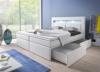 Boxspringbett 140x200 Weiß mit Bettkasten LED Kopflicht Kunstleder Hotelbett Polsterbett Brüssel (140 x 200) -