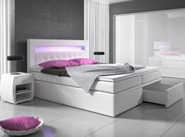 Boxspringbett 140x200 Weiß mit Bettkasten LED Kopflicht Hotelbett Polsterbett Venedig -