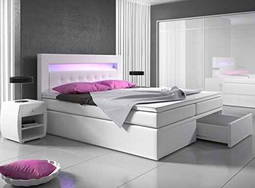 boxspringbett 140x200 wei mit bettkasten led kopflicht hotelbett polsterbett venedig bett mit. Black Bedroom Furniture Sets. Home Design Ideas
