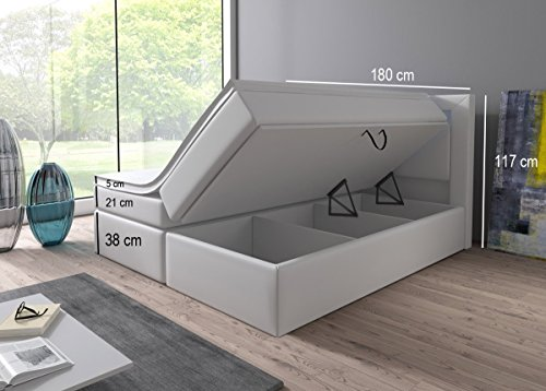 Boxspringbett 160x200 180x200 Weiß mit Bettkasten LED Kopflicht Hotelbett Brüssel Lift (180x200) -