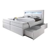 Boxspringbett 160x200 Weiß mit Bettkasten LED Kopflicht Kunstleder Hotelbett Polsterbett Brüssel (160 x 200) -