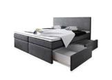 Boxspringbett 180x200 mit Bettkasten Grau Stoff Hotelbett Polsterbett Matratze Modell Roma (180 x 200) -