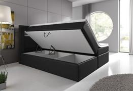 Boxspringbett 180x200 Schwarz mit Bettkasten LED Kopflicht Hotelbett Venedig Lift -