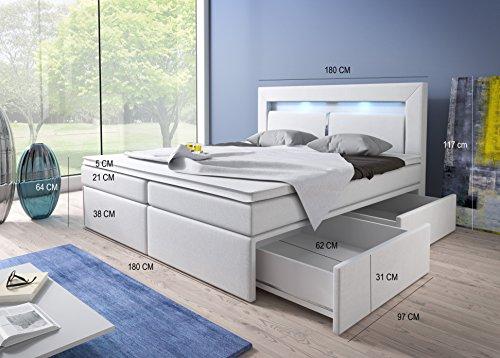 Boxspringbett 180x200 Weiß mit Bettkasten LED Kopflicht Kunstleder Hotelbett Polsterbett Brüssel (180 x 200) -
