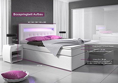 Boxspringbett 180x200 weiß mit Bettkasten LED Kopflicht Kunstleder Hotelbett Polsterbett Venedig -