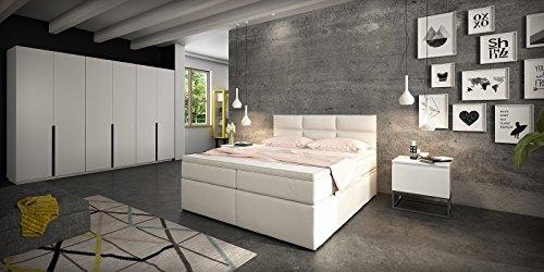 Boxspringbett Doppelbett Hotelbett Viana mit Bettkasten Schubkasten Kunstleder weiß 160 180×200 Ehebett Bonellfederkern Topper (160 x 200 cm) - 6