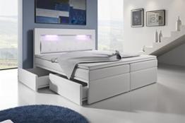Boxspringbett mit Bettkasten 180x200 Weiß LED Kopflicht Glasstein Hotelbett Neapel -