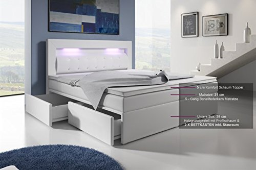 Boxspringbett mit Bettkasten 160x200 Grau LED Kopflicht Glasstein Hotelbett Neapel -