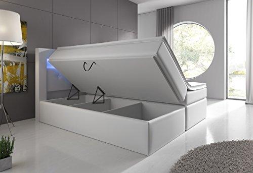 Boxspringbett Weiß 180x200 mit Bettkasten LED Kopflicht Hotelbett Venedig Lift -