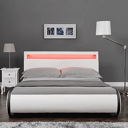 """Corium LED Polsterbett """"Valencia"""" mit Matratze (180x200cm)(weiss)(Kaltschaum) - mit Kunst - Leder / Kunstlederbezug / RGB - Beleuchtung / mit Stecklattenrost / -"""
