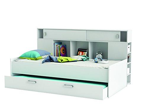 Demeyere 407011 Bettüberbau, Bett mit Bettkasten 90 x 200 cm SHERWOOD, weiß -